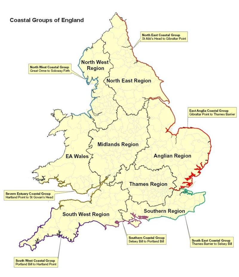 Coastal Groups of England map