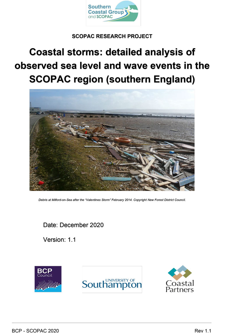 Coastal storms: detailed analysis of observed sea level and wave events in the SCOPAC region (southern England)