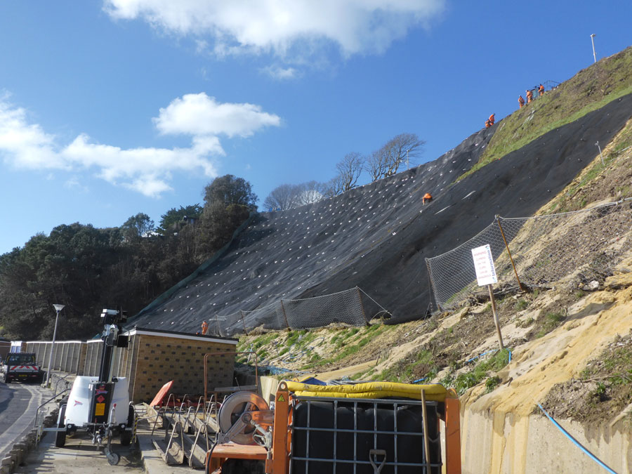 Cliff stabilisation at Canford Cliffs beach, Poole